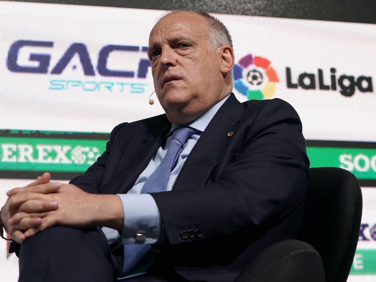 Foto: El presidente de LaLiga, Javier Tebas, en un evento en Portugal. (Getty)
