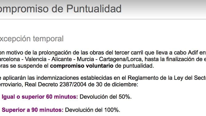 Renfe ha suprimido el compromiso de puntualidad en el corredor que va desde Cartagena a Barcelona. (Renfe)
