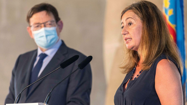 El presidente de la Comunidad Valenciana, Ximo Puig (i), y la presidenta Balear, Francina Armengol (d). (EFE)