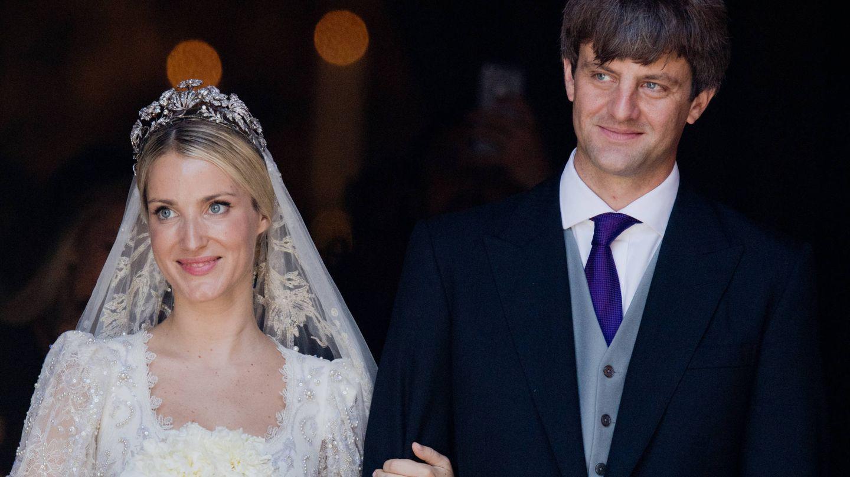Ekaterina con la tiara floral en su boda con Ernesto Jr. (Gtres)