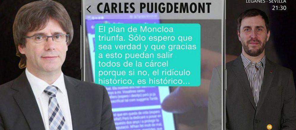 Foto: Montaje realizado por el Programa de Ana Rosa de la conversación entre Puigdemont y Comín. (Telecinco)