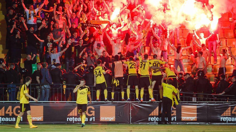 Ultras del Sheriff celebran una victoria contra el Zimbru de Chisinau, la capital moldava. (FC Sheriff)