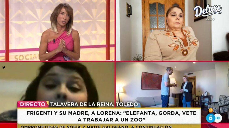 María Patiño y la madre de Miguel Frigenti, en 'Socialité'. (Mediaset)