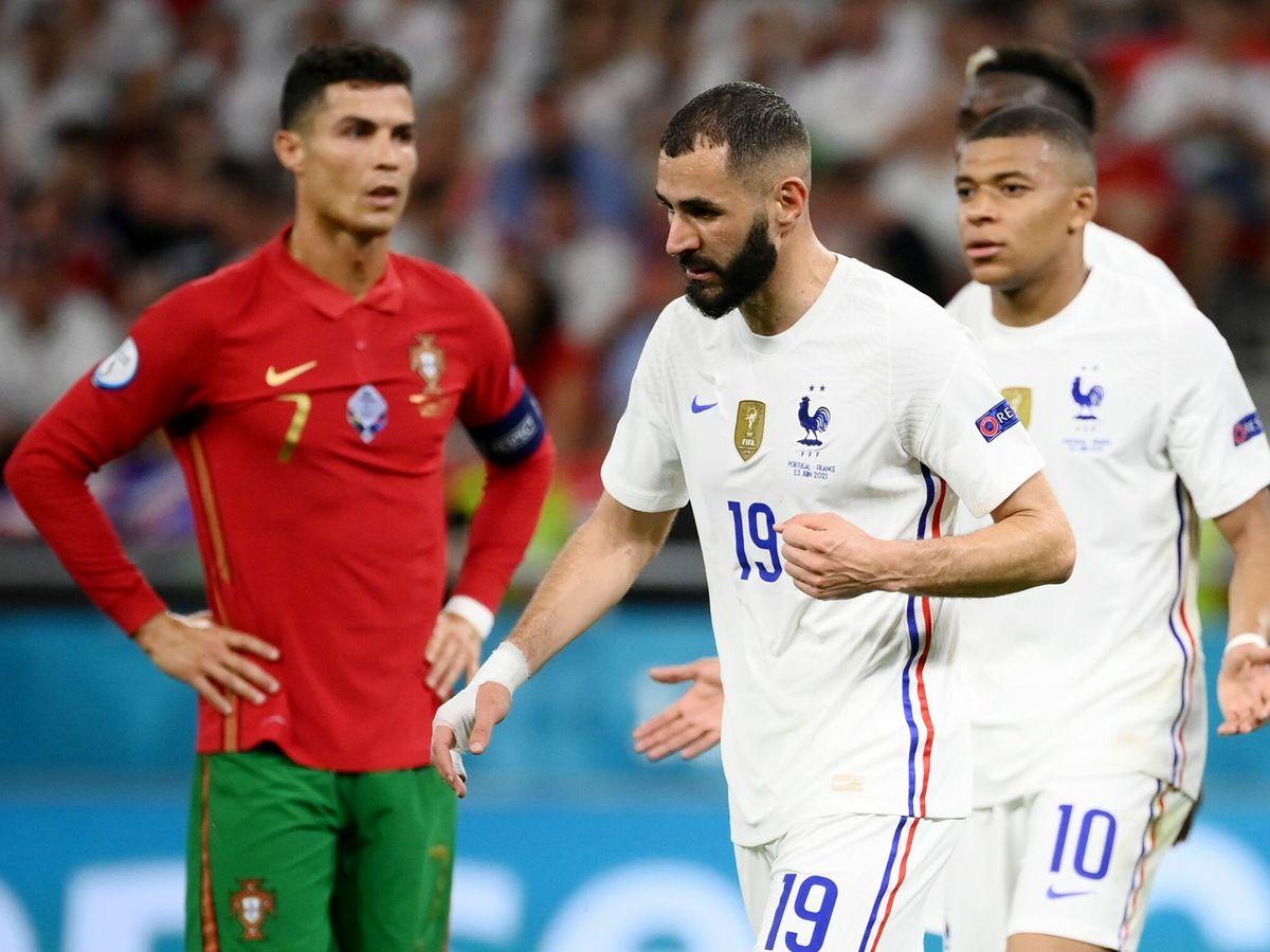 Foto: Cristiano Ronaldo, Benzema y Mbappé durante el Portugal-Francia de la fase de grupos. (Reuters)
