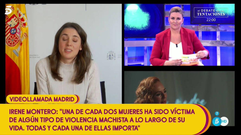 Irene Montero, en 'Sálvame'. (Telecinco)