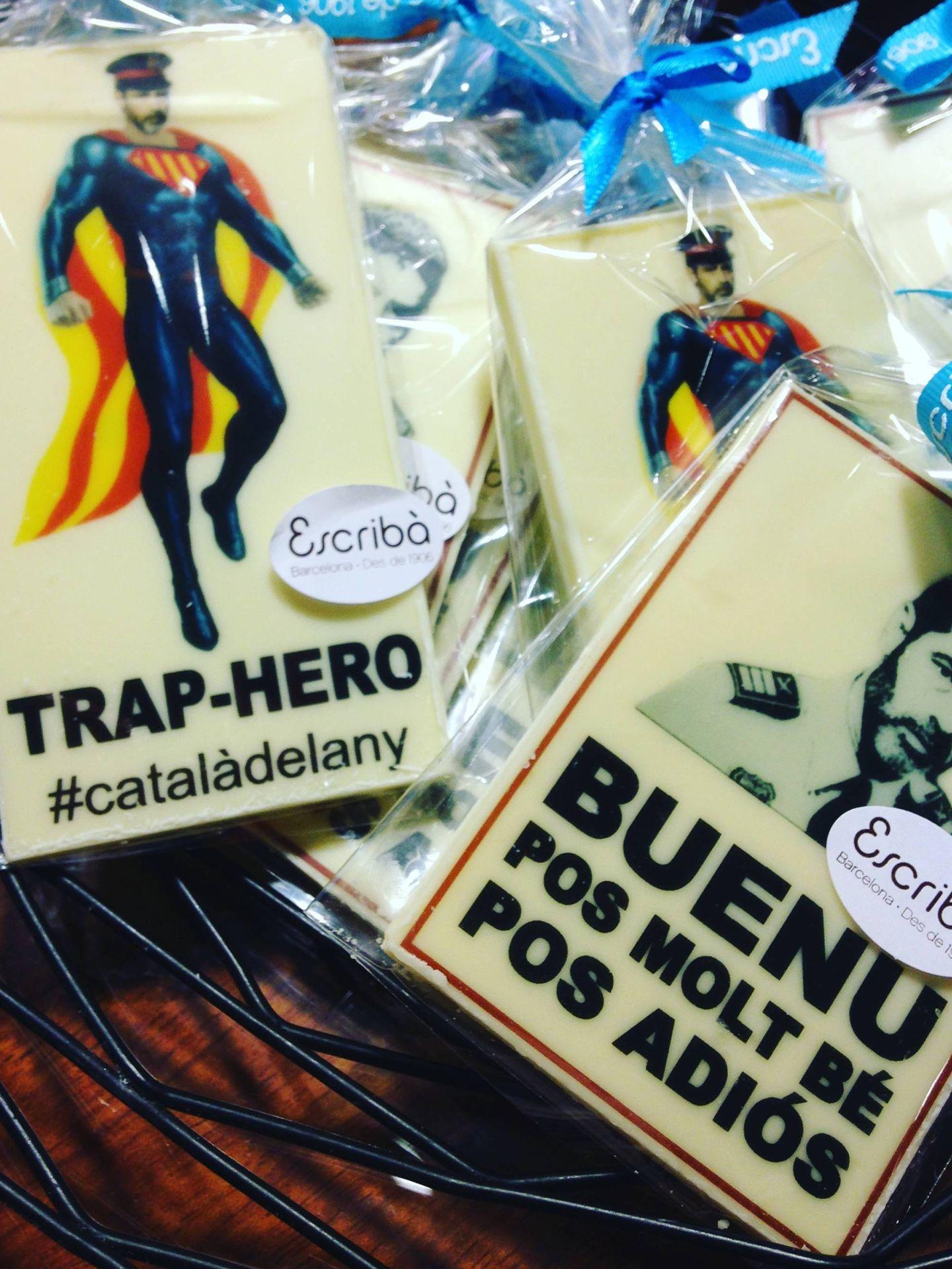 Chocolatinas en homenaje a Trapero de venta en las pastelerías Escribà. (ST)