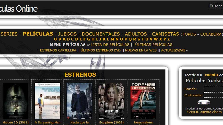 Pantallazo del portal de enlaces PeliculasYonkis
