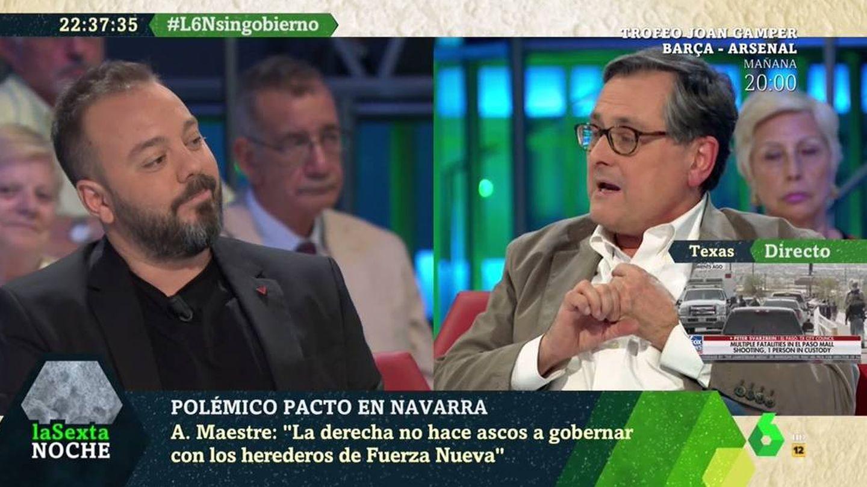 Maestre y Marhuenda discuten en el plató de 'La Sexta noche'. (Atresmedia).