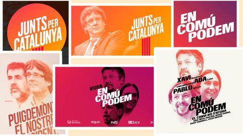 JxCAT, la lista de Puigdemont, le 'copia' el cartel a los 'comunes' de Domènech y Colau