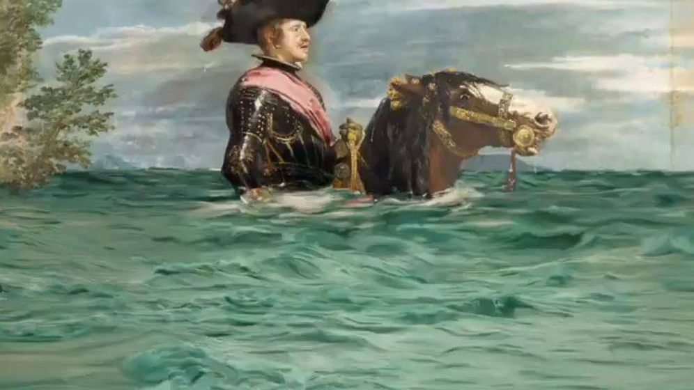 Foto: El 'Felipe IV a caballo' de Velázquez, modificado para la campaña por el clima del Museo del Prado y WWF