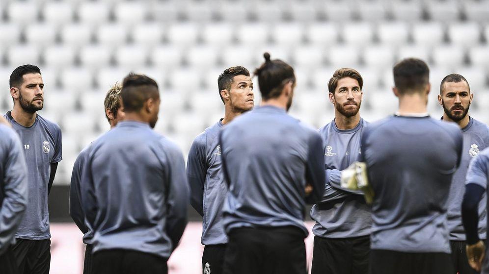 Foto: Los jugadores del Real Madrid, durante su último entrenamiento en el Allianz Arena. (EFE)