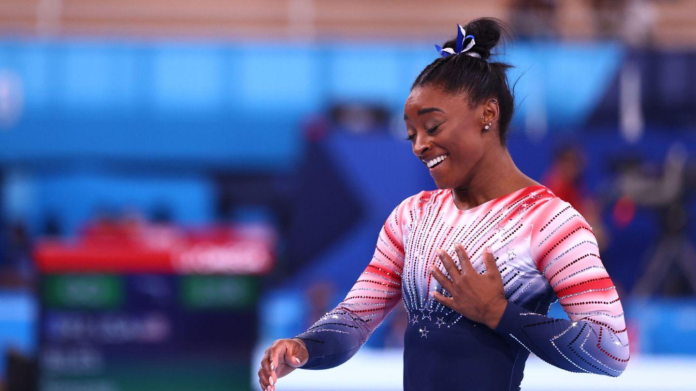 Simone Biles, durante su prueba de hoy. (Reuters)