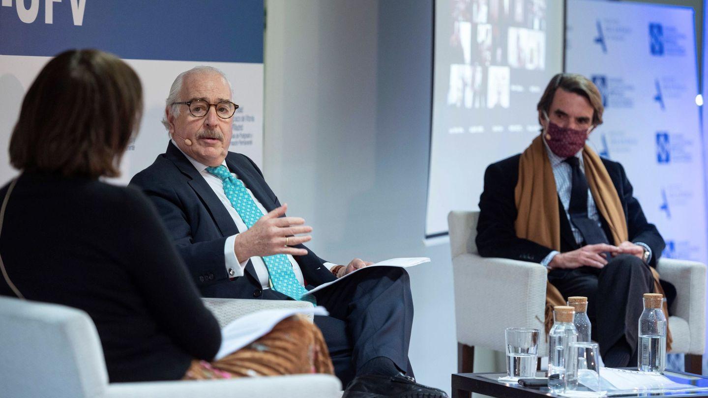 José María Aznar, en una sesión virtual sobre liderazgo del IADG. (EFE)