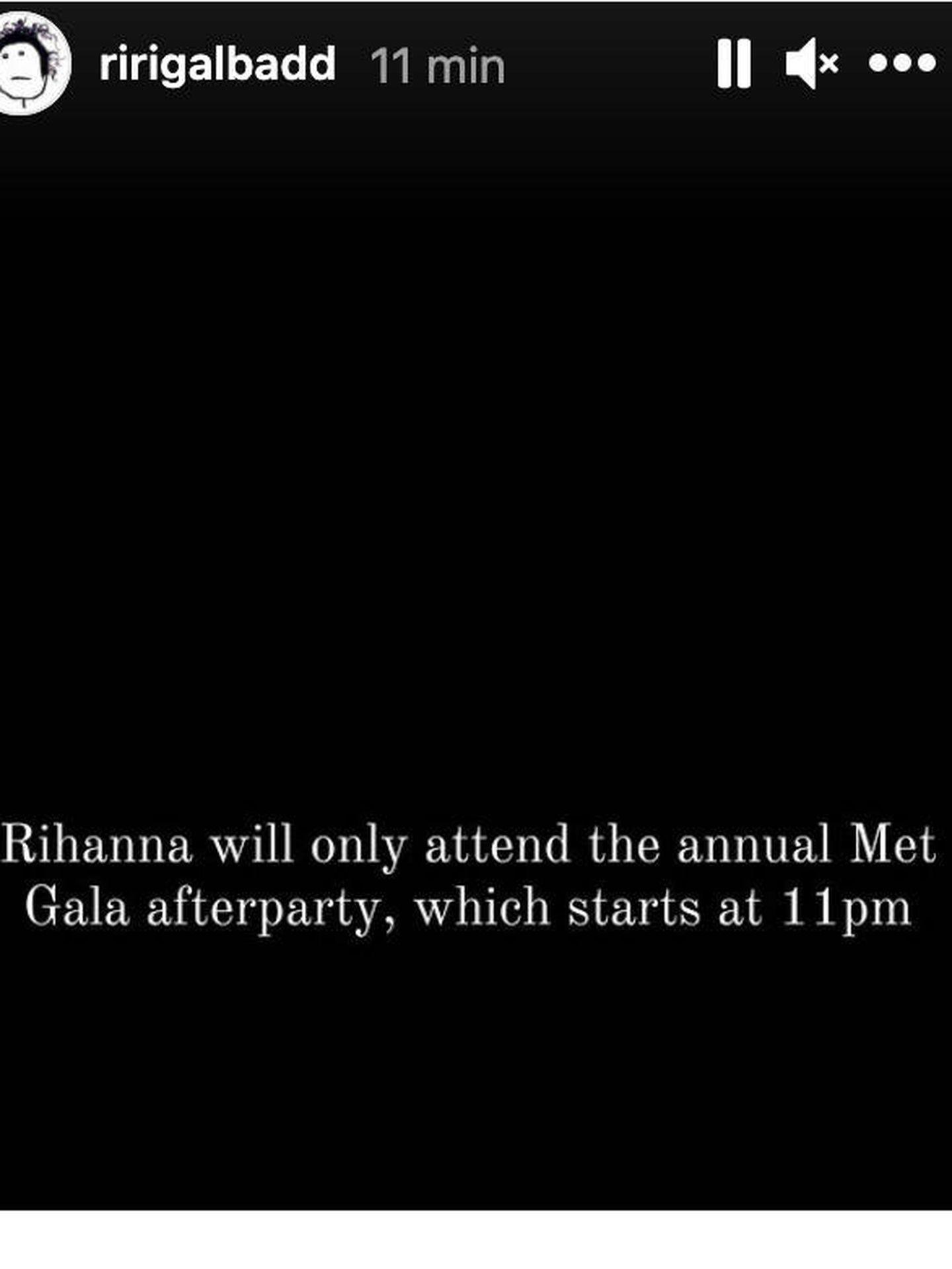 Imagen del Instagram de Rihanna