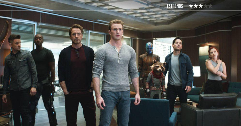 Foto: Jeremy Renner, Don Cheadle, Robert Downey Jr., Karen Gillian, Bradley Cooper, Paul Rudd y Scarlett Johansson, en 'Vengadores: Endgame'. (Disney)