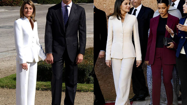 La Reina con el traje en 2003 y en 2019.(Getty y Limited)