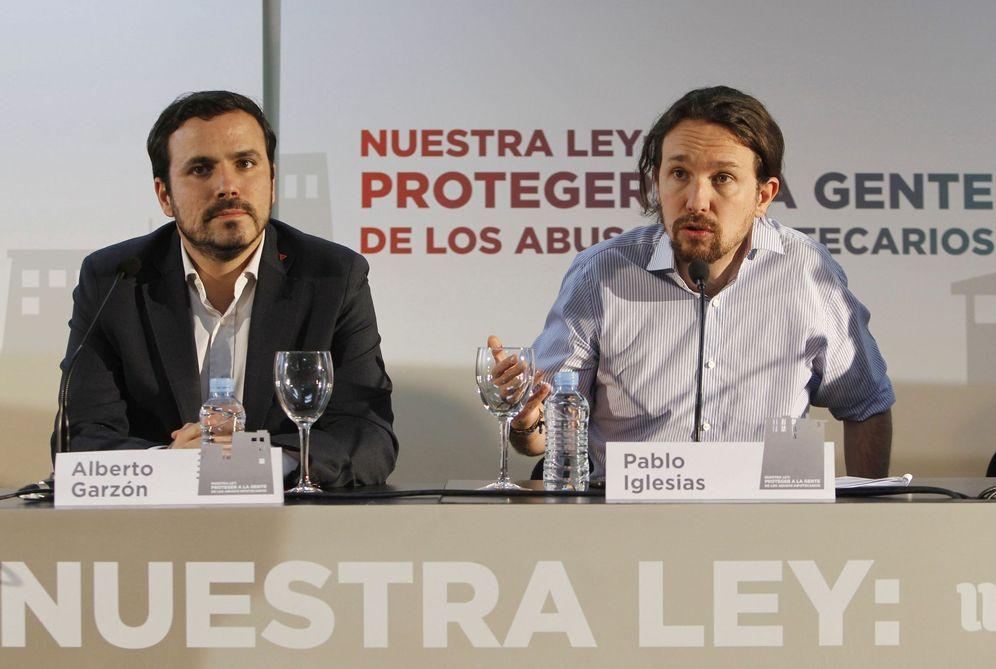 Foto: Pablo Iglesias y Alberto Garzón, líderes de Podemos e IU, el pasado 14 de febrero en Madrid. (EFE)