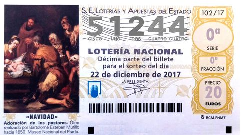 El segundo premio de la Lotería de Navidad cae en el número 51.244