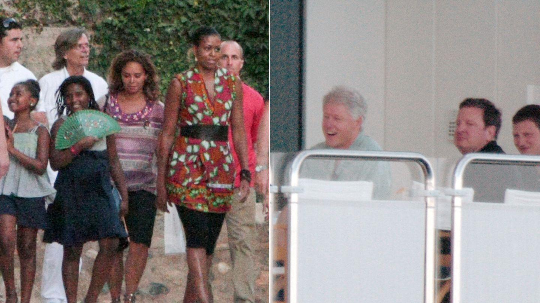 A la izquierda, Michelle Obama en Granada. A la derecha, Bill Clinton en Palma (Gtres)