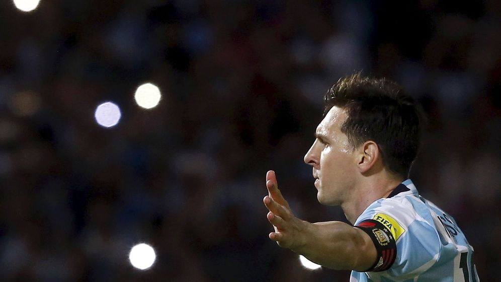 Foto: Messi celebra su gol con Argentina a Bolivia. (Efe)