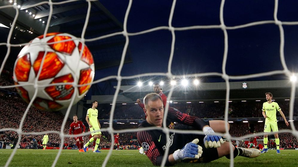 Foto: Ter Stegen encaja el segundo gol ante el Liverpool. (Reuters)