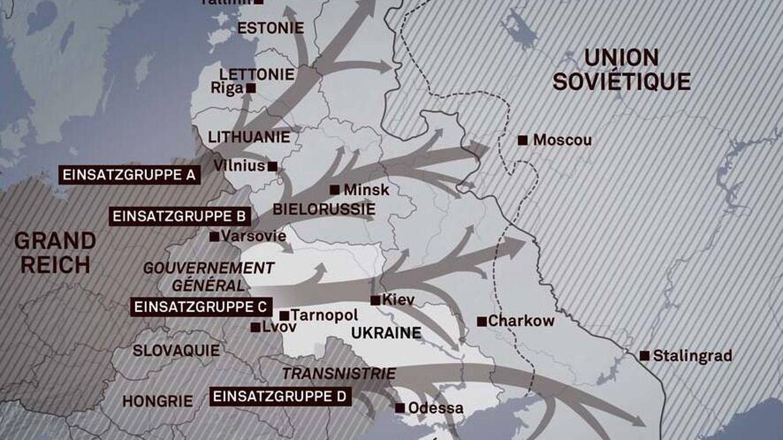 Mapa de ubicación de los Einsatzgruppen