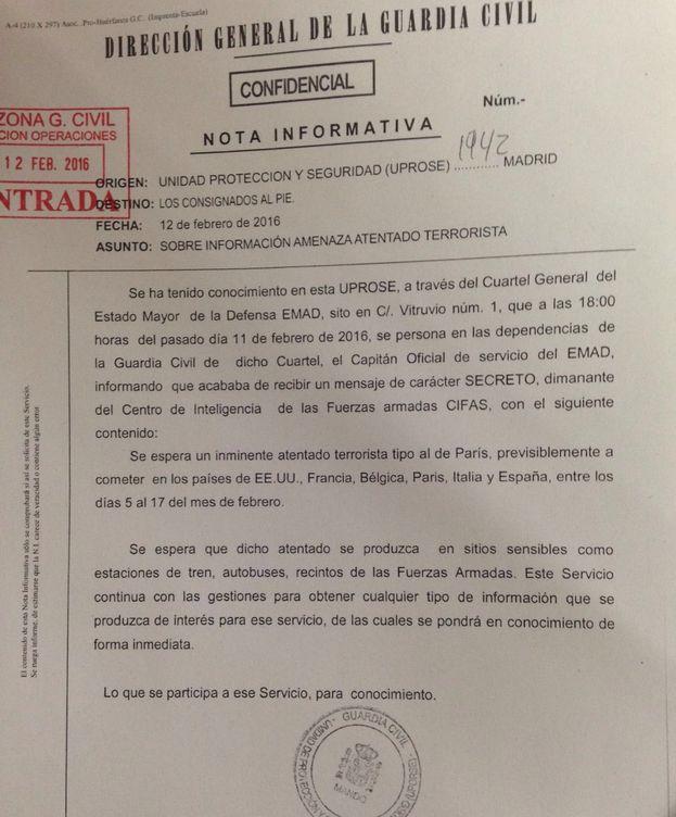 Foto: Documento de la Guardia Civil con información de Defensa. (EC)