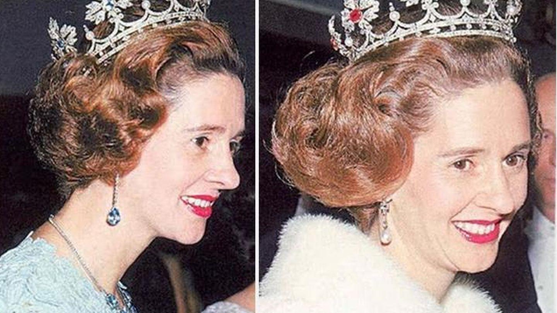 Fabiola luciendo la tiara que Franco le regaló