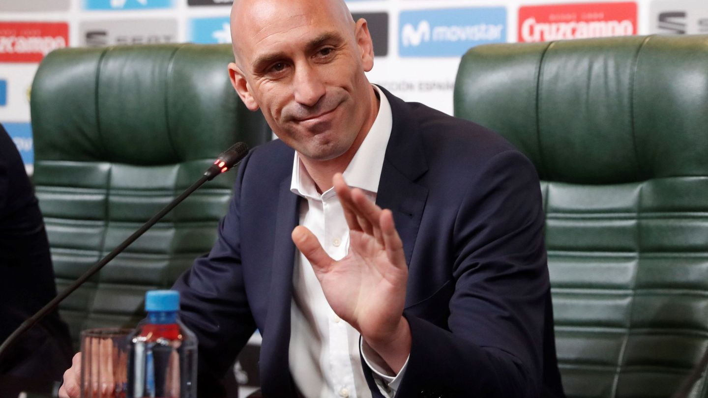 Luis Rubiales, durante la rueda de prensa en la que anunció la desitución de Lopetegui. (EFE)