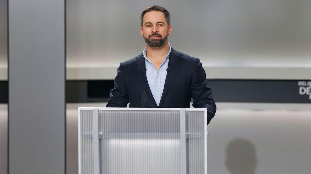 Foto: El candidato de Vox, Santiago Abascal, durante el debate de este lunes. (Reuters)