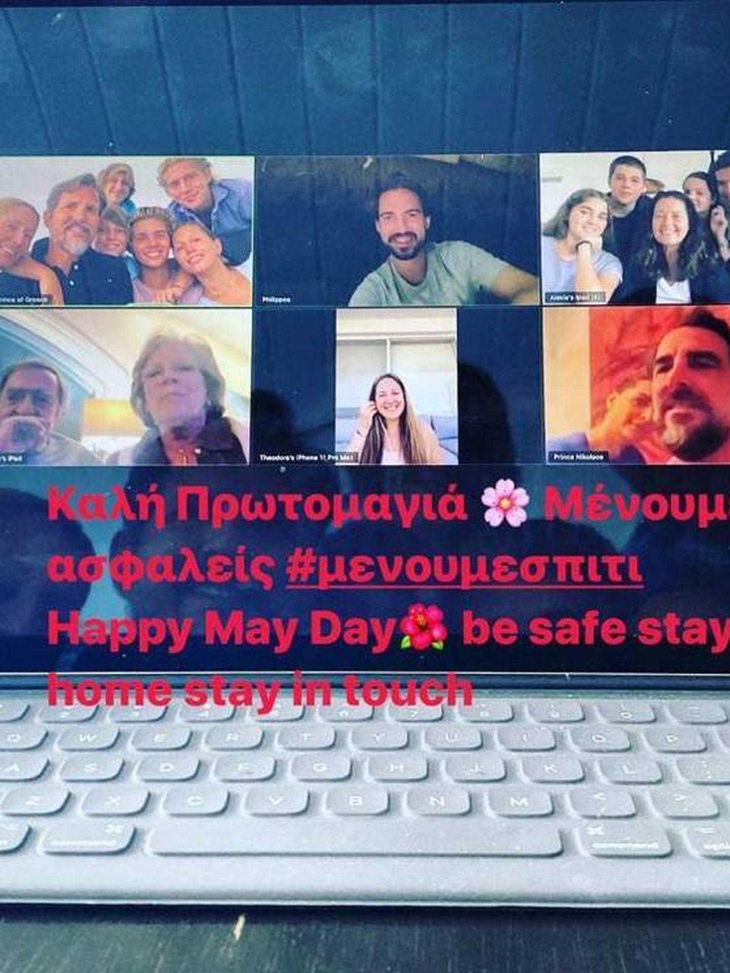 La familia real griega, reunida a través de videollamada. (@pavlosgreece)