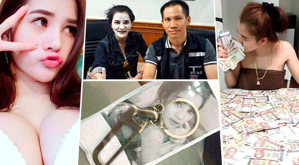 Foto: Imágenes que Preeyanuch Nonwangchai, la asesina confesa, colgaba en las redes sociales, y posando con un agente. (Facebook)