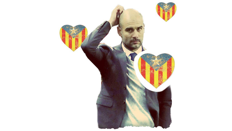Foto: Guardiola y su pasión independentista. (Enrique Villarino)