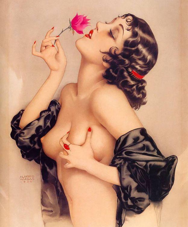 Foto: Memory of Olive Thomas, pintado por Alberto Vargas en 1920.