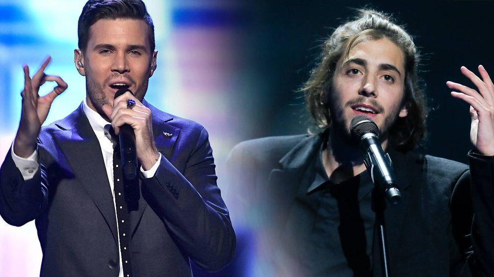 Foto: Robin, el representante de Suecia en Eurovisión, y Salvador Sobral, ganador del certamen.