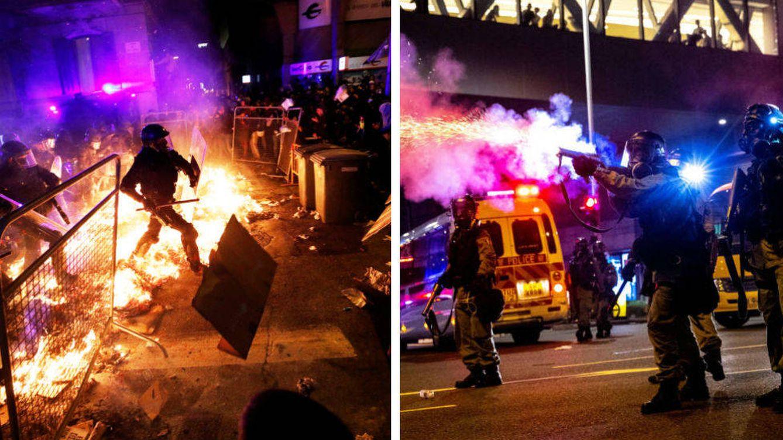 Foto:  Protestas en Barcelona (iz) y en Hong Kong (d)