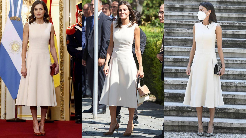 La Reina, con el vestido de Pedro del Hierro. (LP / EFE)