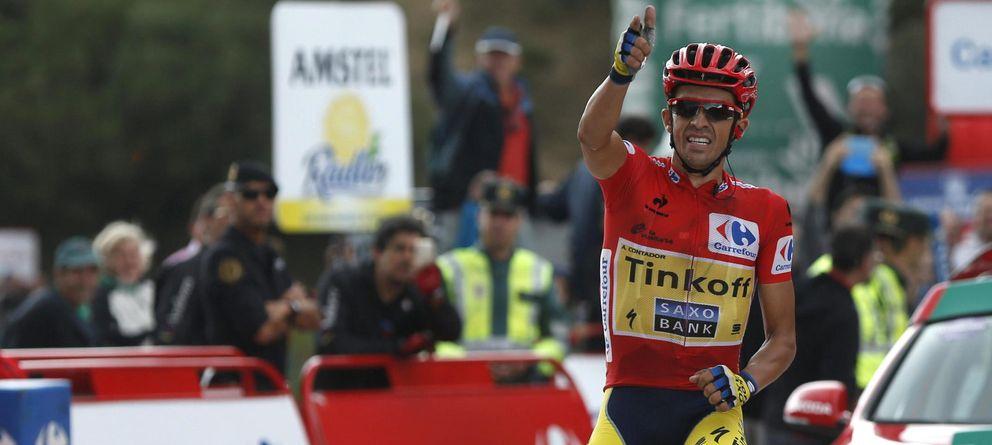 Foto: Alberto Contador, celebra su victoria en la decimosexta etapa de la Vuelta a España