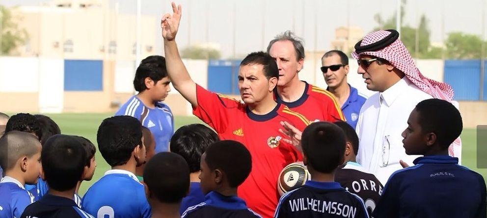 Foto: Pedraza en la escuela de Al Hilal en Arabia Saudí.