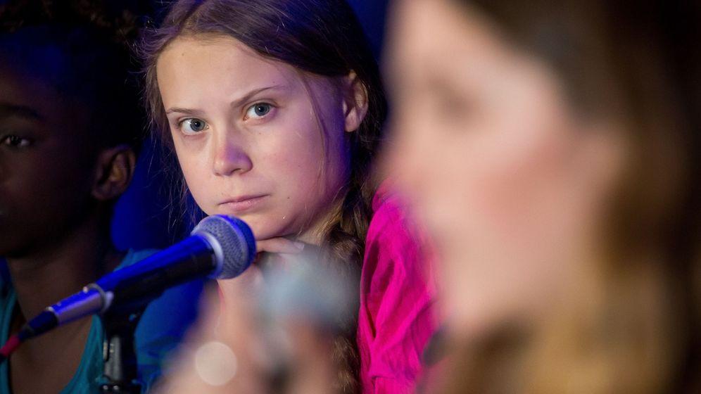 Foto: Thunberg, en el Comité de las Naciones Unidas sobre los Derechos del Niño en UNICEF. (EFE)