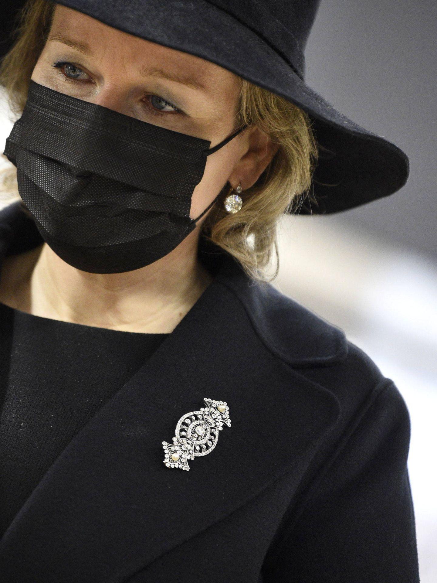 La reina Matilde, este lunes en el homenaje a las víctimas. (EFE)