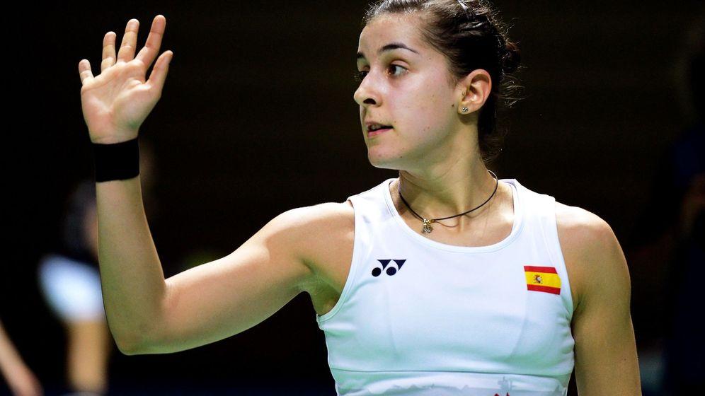 Foto: Carolina Marín, durante el reciente Abierto de Alemania en el que una lesión le impidió jugar la final. (EFE)