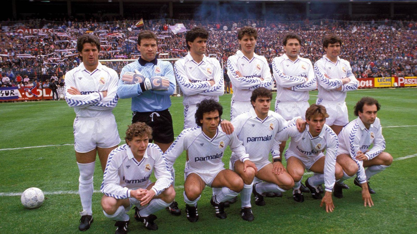 Foto: Chendo, Buyo, Míchel, Tendillo, Gordillo, Camacho, (agachados) Butragueño, Hugo Sánchez, Sanchís, Martín Vázquez y Gallego (Imago).