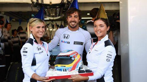 El único momento de hastío de Alonso el día de su cumpleaños: Yo ya paso