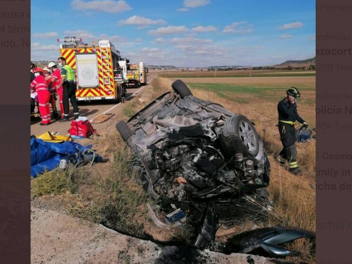 Foto: Imagen del accidente en Villanueva de los Infantes. Foto: 112 Castilla y León