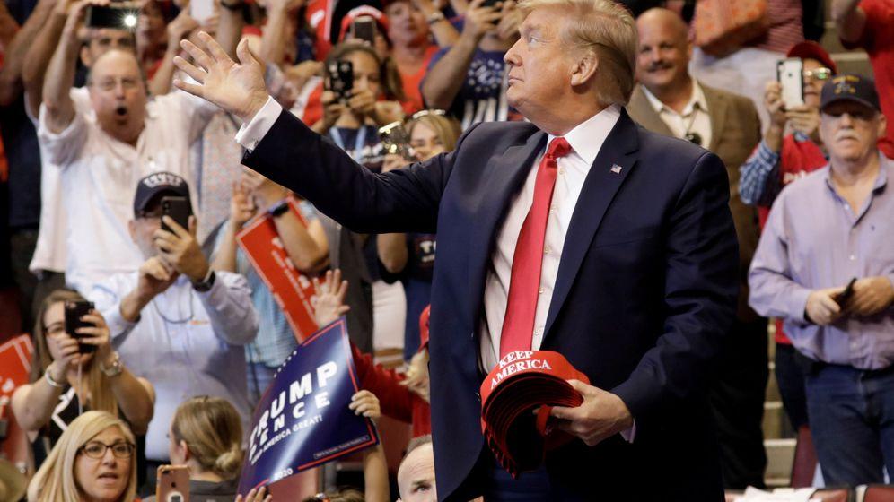 Foto: El presidente Trump en un mitin. (Reuters)