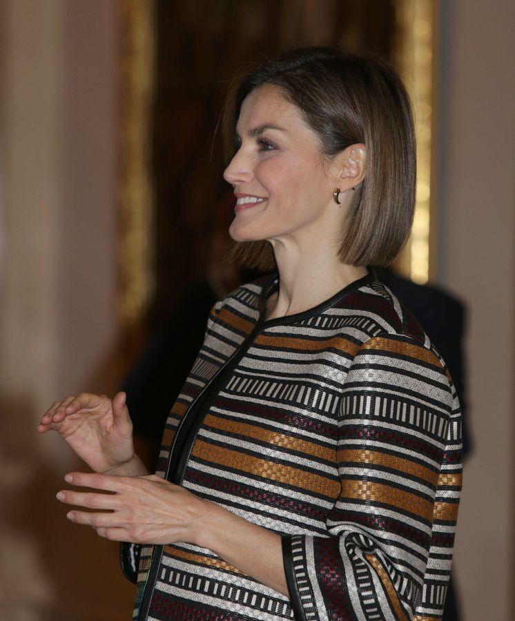 Foto: La Reina Letizia, durante el acto celebrado en el palacio de la Zarzuela (Gtres)