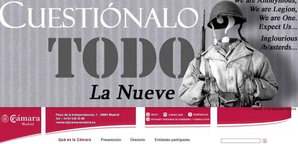 Foto: Imagen de la página web 'hackeada' de la Cámara de Comercio de Madrid