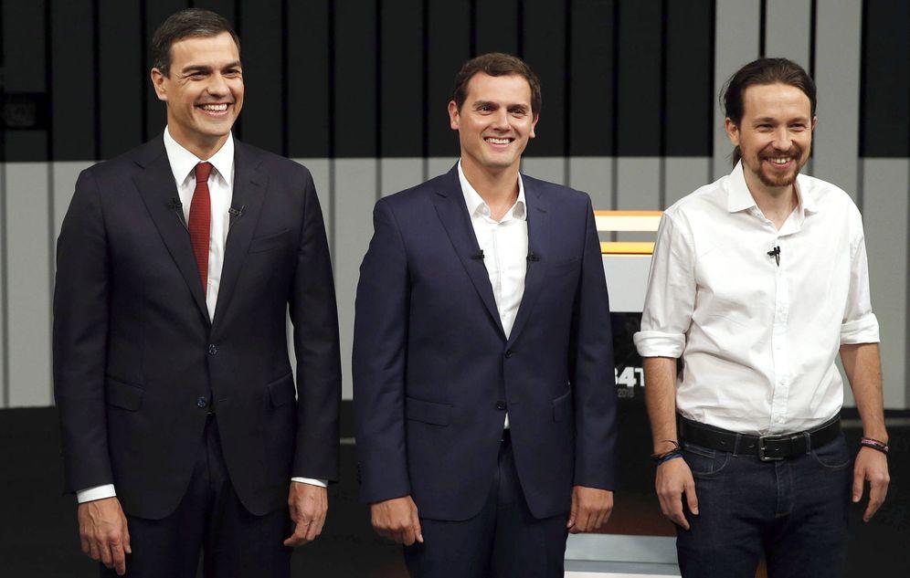 Foto: Pedro Sánchez, Albert Rivera y Pablo Iglesias, el pasado 13 de junio en el debate a cuatro en televisión durante la campaña de las últimas generales. (EFE)