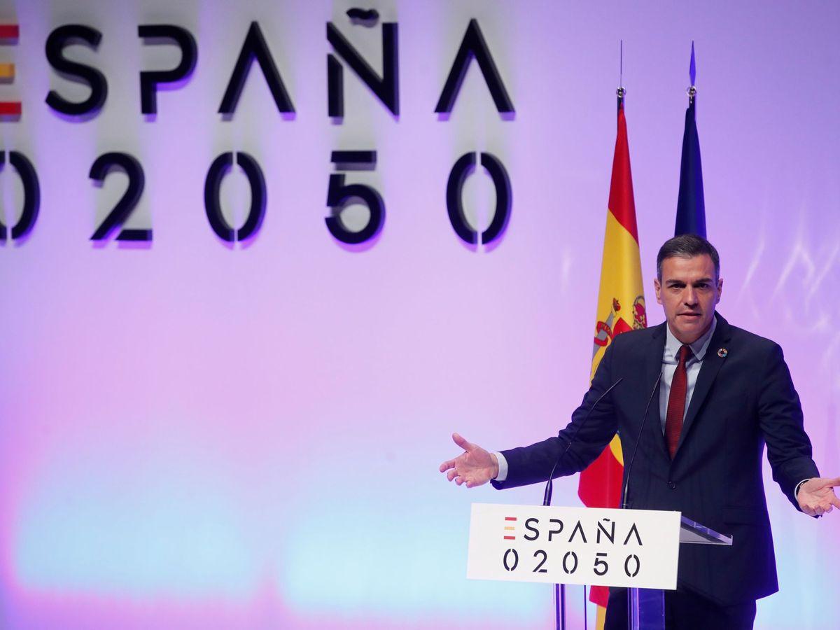 Foto: El presidente del Gobierno, Pedro Sánchez, durante la presentación del proyecto 'España 2050'. (EFE)